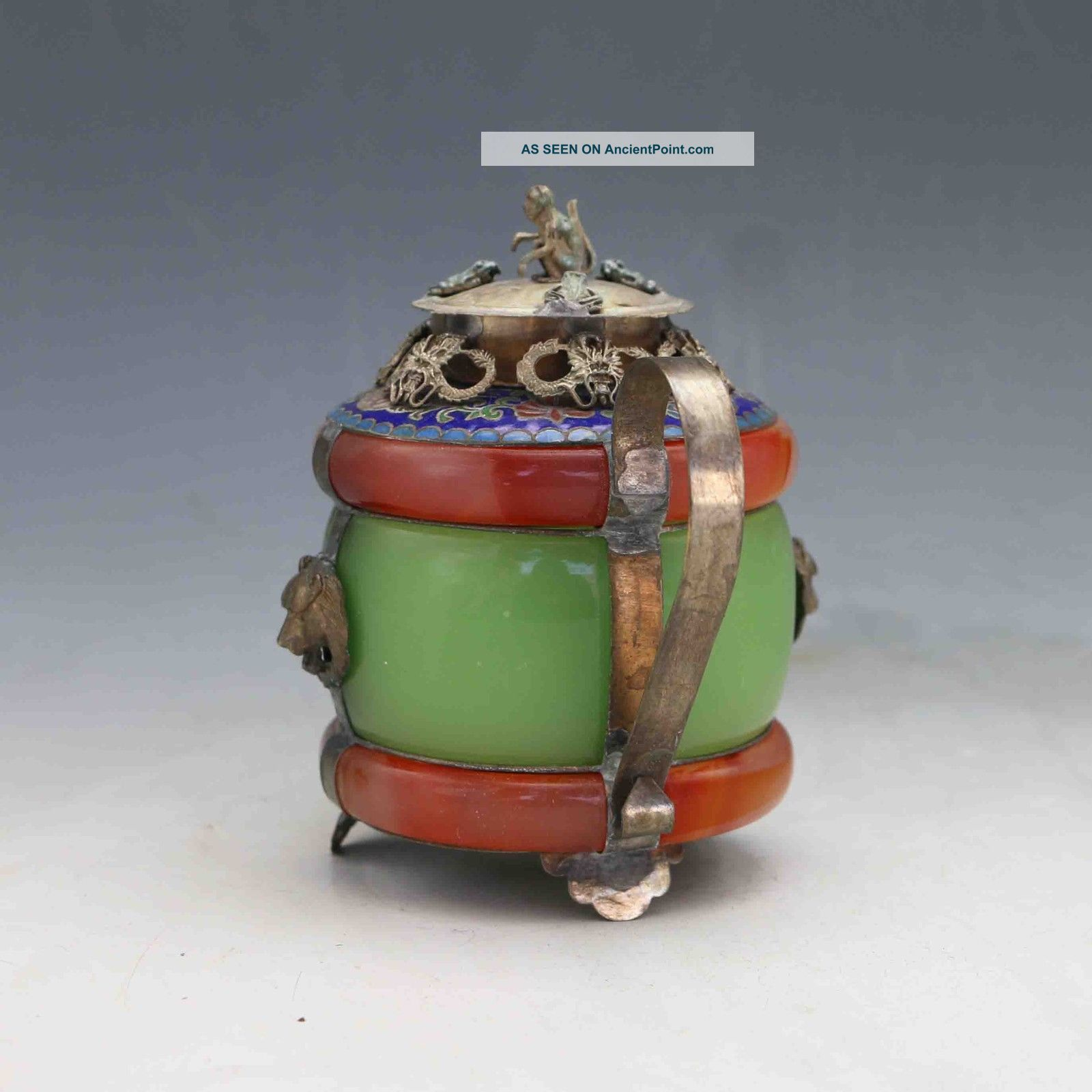Chinese handwork old green jade bracelet inlay tibet-silver dragon teapot monkey
