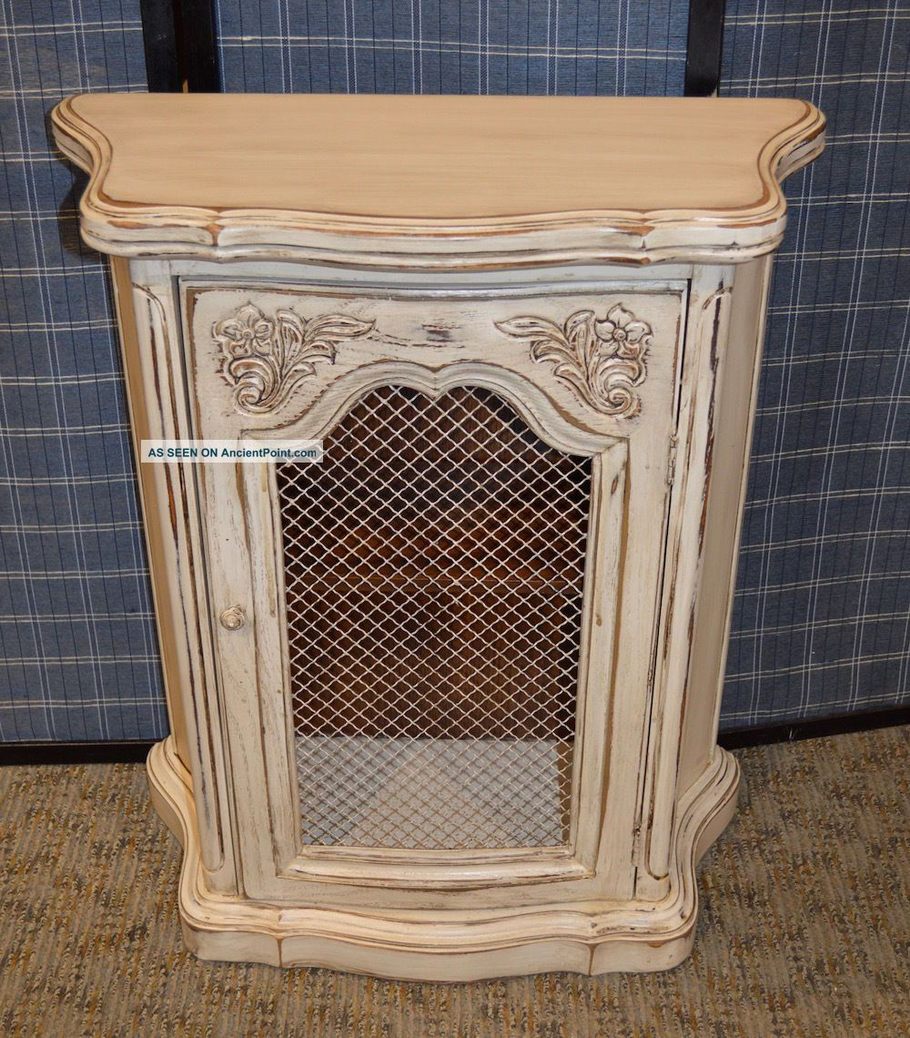 Vintage Shabby Cottage Chic French Style Small Accent Cabinet W/metal Panel Post-1950 photo