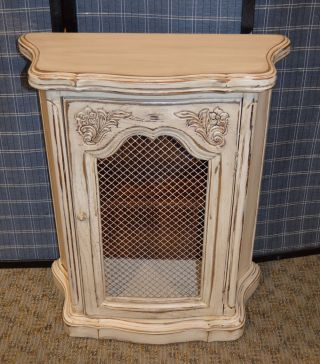 Vintage Shabby Cottage Chic French Style Small Accent Cabinet W/metal Panel photo