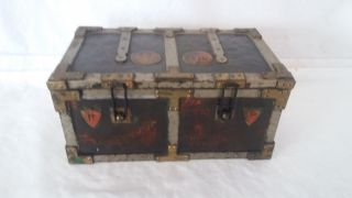 Antique English Huntley And Palmer Figural Biscuit Tin ' Iron Chest ' 1907 photo