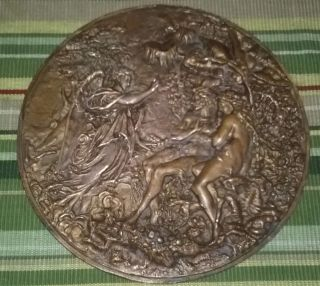 Antique High Relief Bronze Plaque Adam & Eve Angel Eden Victorian photo