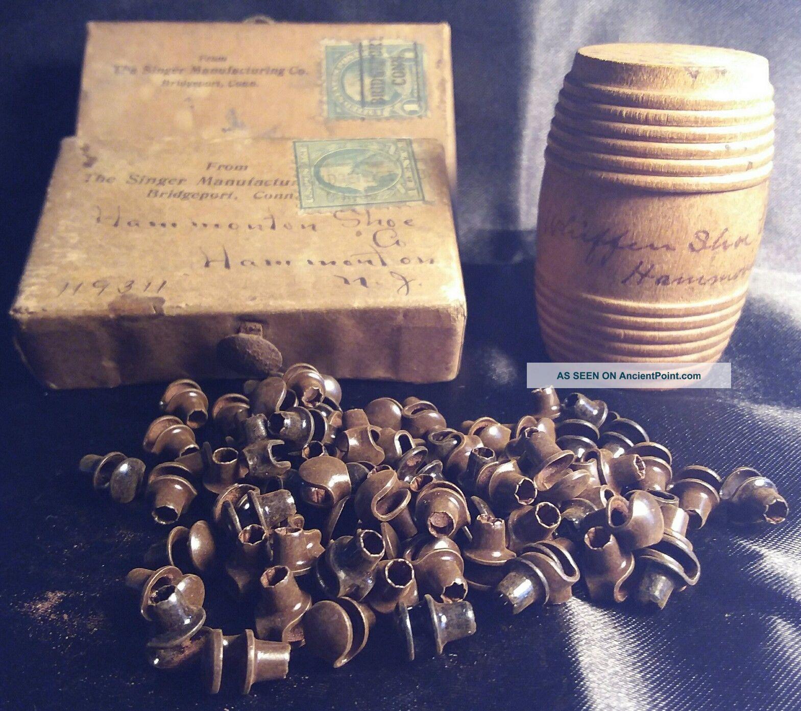 Rare Antique Hammonton Nj Shoe Co Sample Wood Barrel Boxes Singer Mfg Hooks Mail Other Mercantile Antiques photo