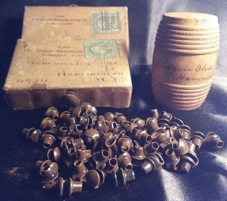 Rare Antique Hammonton Nj Shoe Co Sample Wood Barrel Boxes Singer Mfg Hooks Mail photo