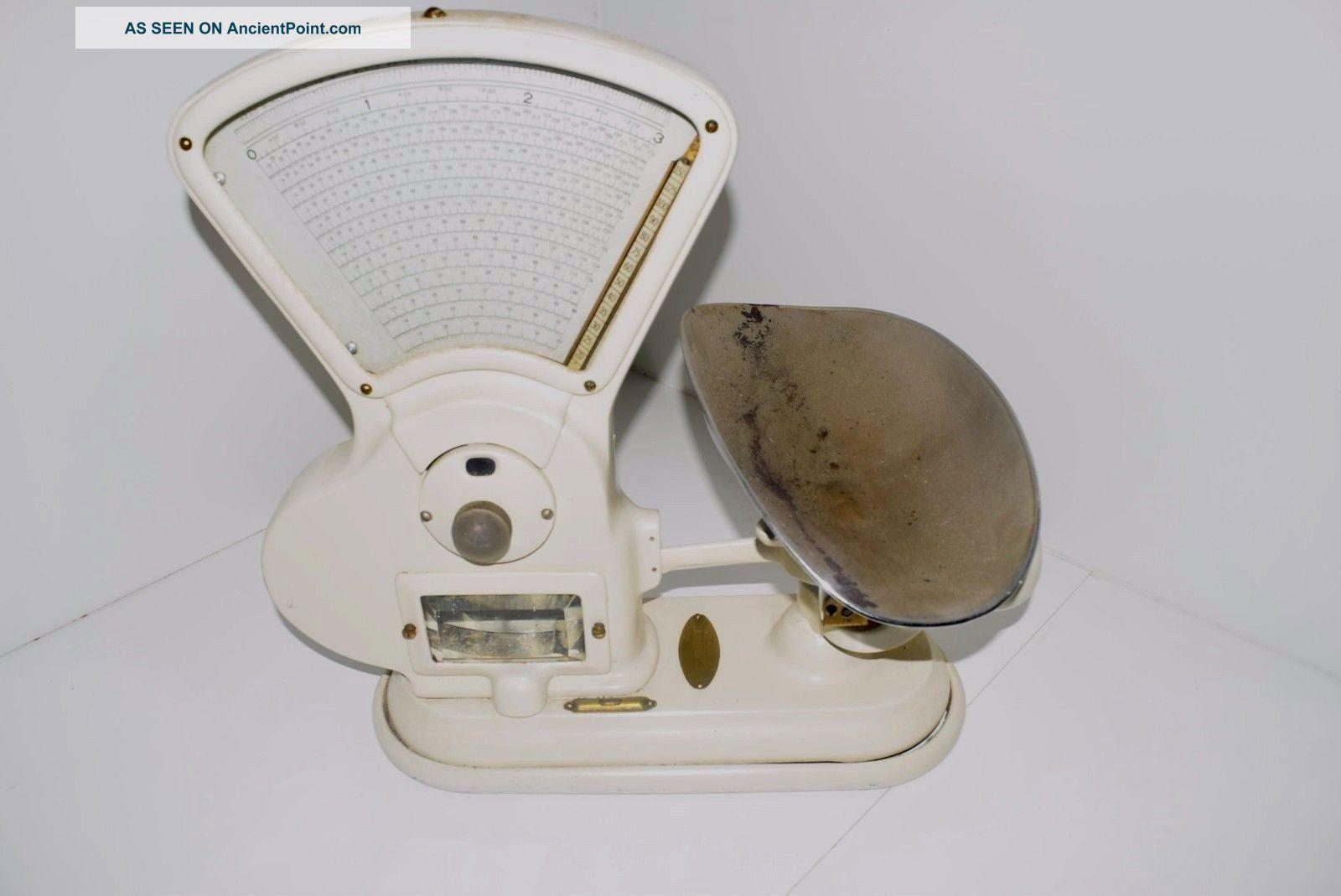 Rare 1917 ' S Heavy Duty White Toledo No.  415 T 3 Lb.  Candy Store Scale W/ Tray Scales photo