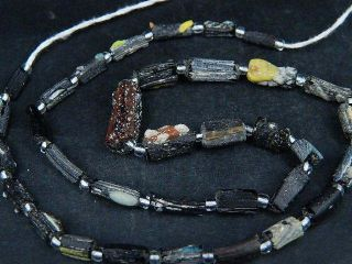 Ancient Fragment Glass Beads Strand Roman 200 Bc B1459 photo