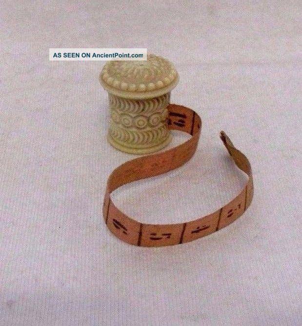 Antique Carved Bone Tape Measure W Silk Tape Circa 1890