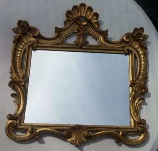 Xlnt Vtg Mid - Century Gold Italian Florentine Hollywood Regency Wall Mirror photo