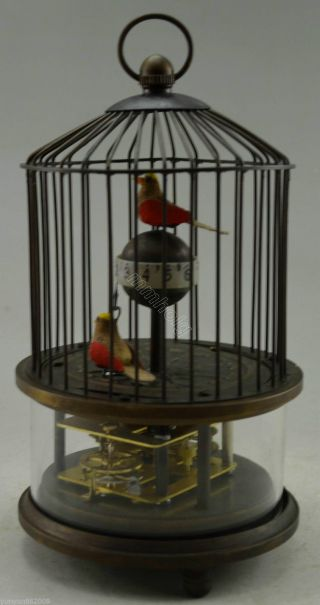Collectible Decorated Old Handwork Copper 2 Bird In Cage Mechanical Table Clock photo