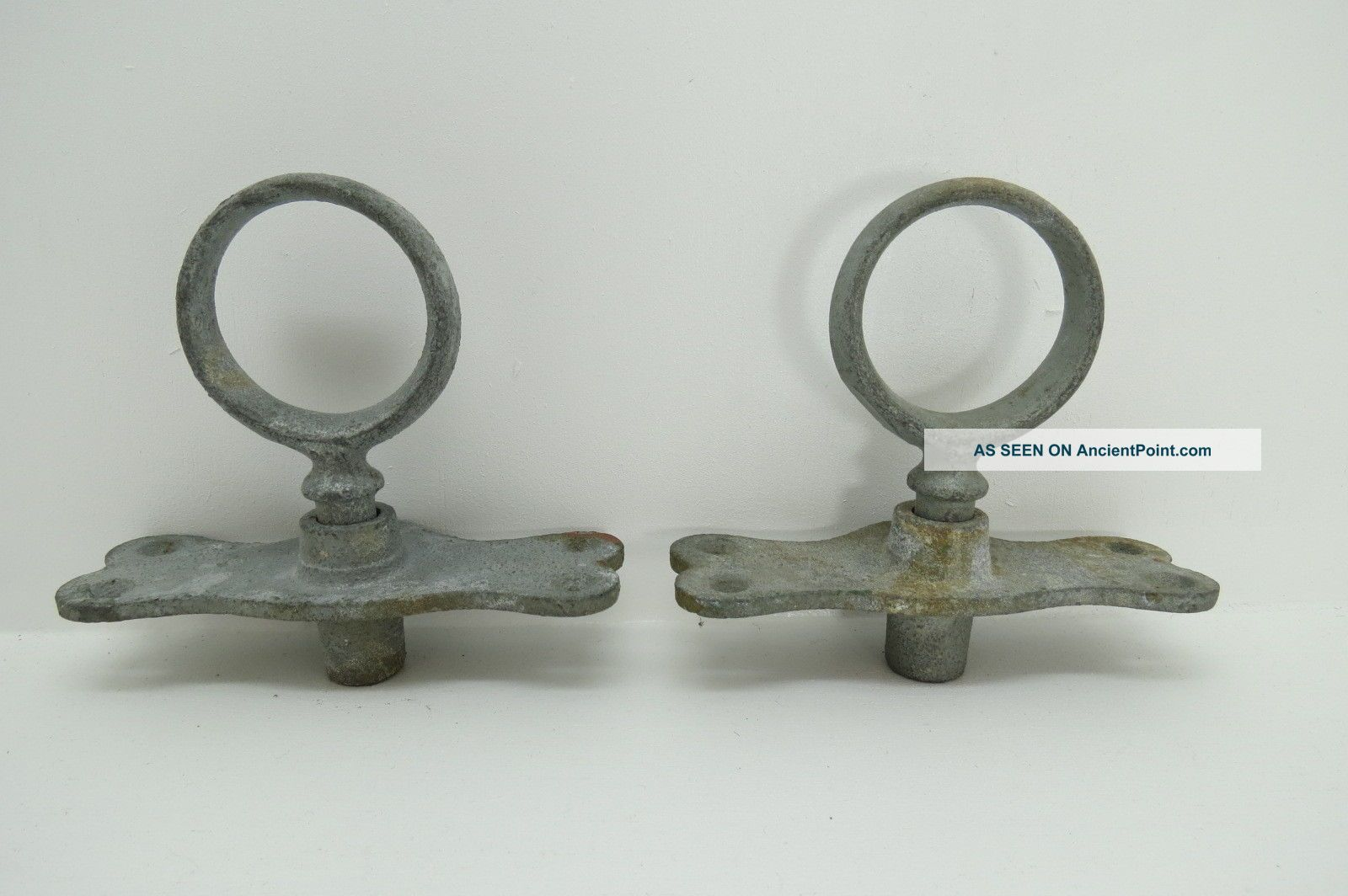 Galvanized Pair 2 Inch Oar Locks & Mounts For Row Boat (463) Other Maritime Antiques photo
