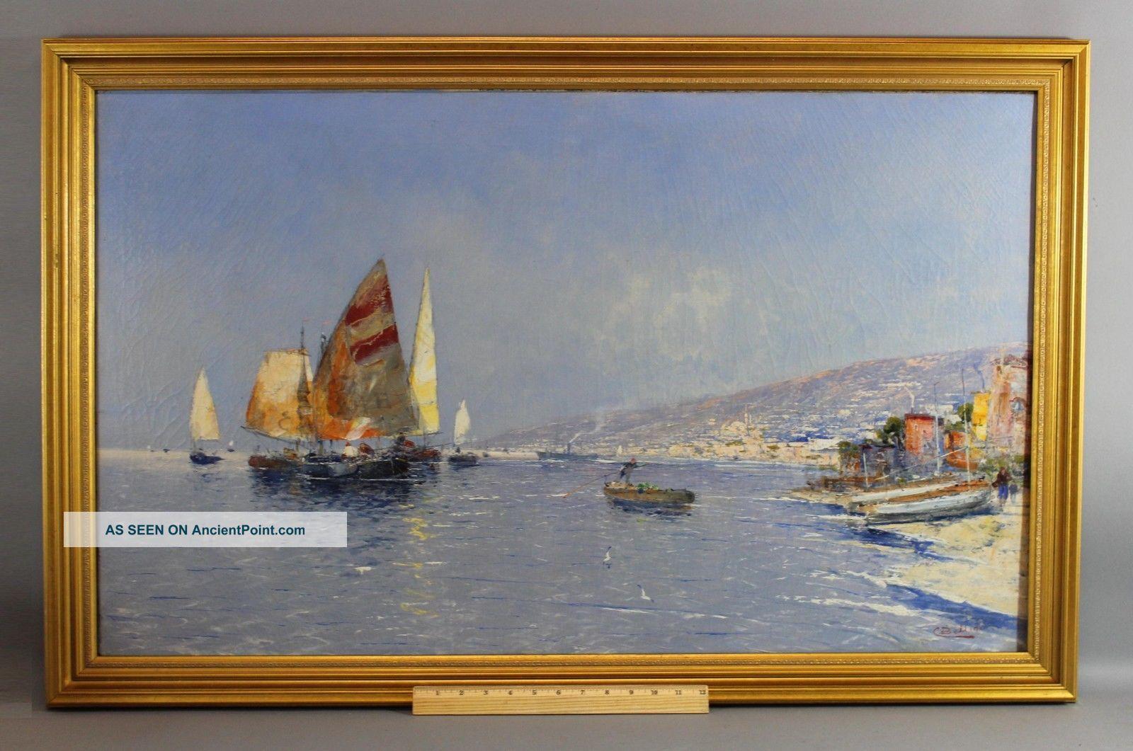 Lg Antique C Bellini Italian Impressionist Sailboat Harbor Seascape Oil Painting Other Maritime Antiques photo