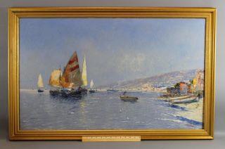 Lg Antique C Bellini Italian Impressionist Sailboat Harbor Seascape Oil Painting photo