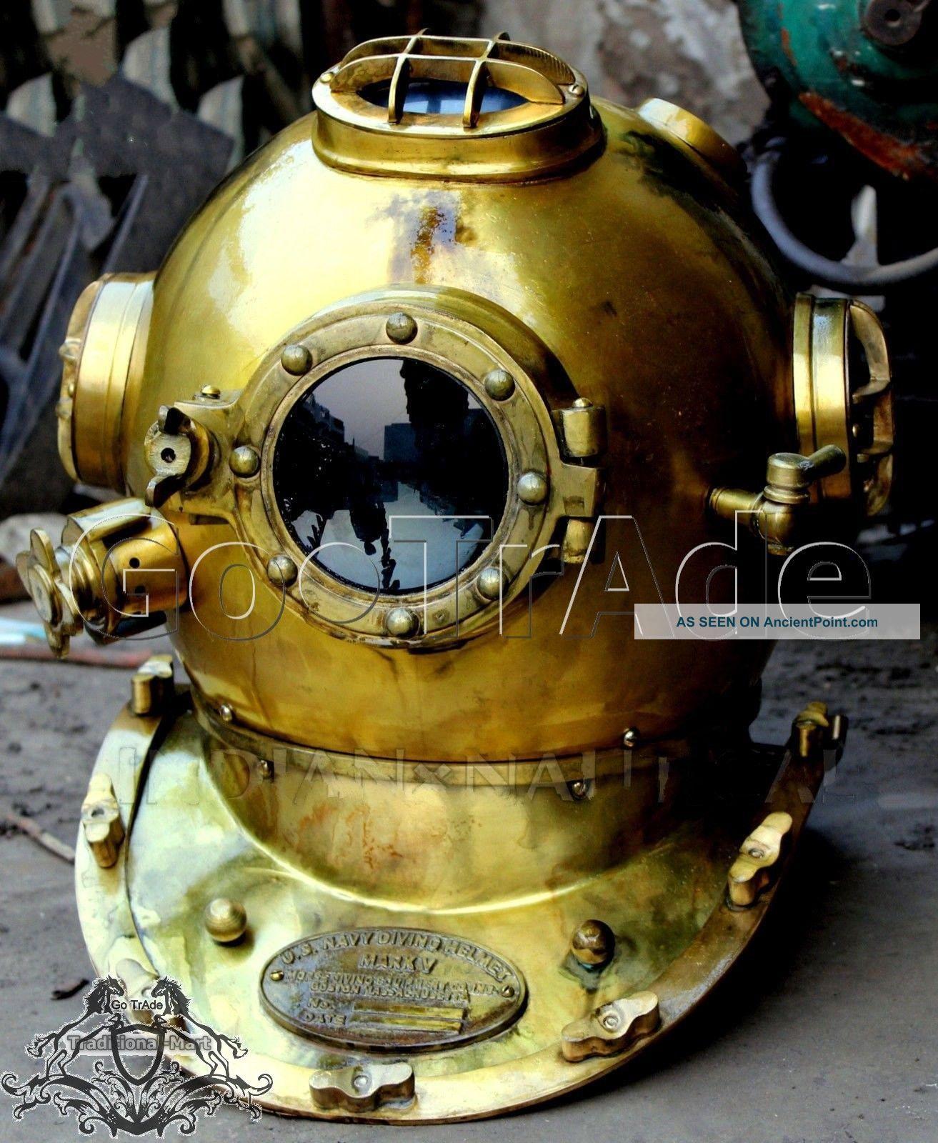 Antique Us Navy Vintage Dive Helmet Mark V Antique Diving Divers Helmet Go.  Trade Diving Helmets photo