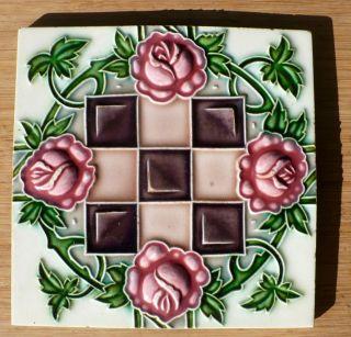 Vintage Japanese Glazed Ceramic Decorative Tile photo