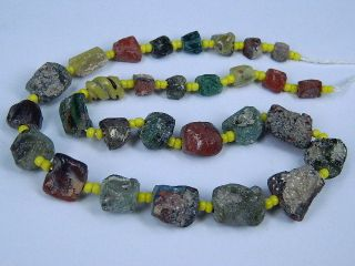 Ancient Fragment Glass Beads Strand Roman 200 Bc B1274 photo