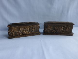 Antique Carved Wood Bookends Coffin Mortuary? Bible? Arts And Crafts Movement photo