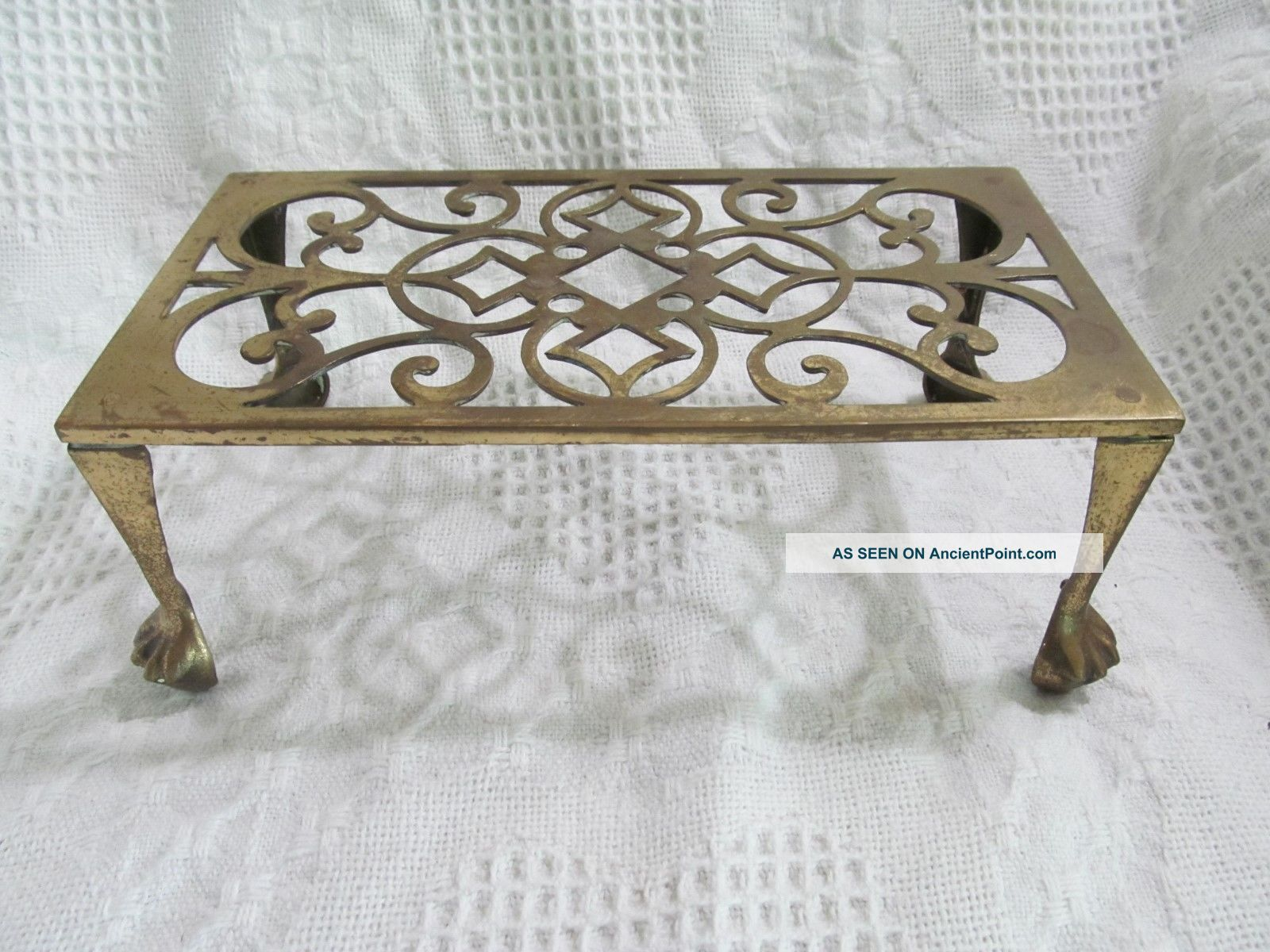Antique Solid Brass Fireplace Stand,  Stool,  Trivet,  Kettle Holder,  Lion Paw Feet Trivets photo