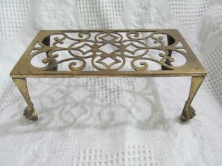 Antique Solid Brass Fireplace Stand,  Stool,  Trivet,  Kettle Holder,  Lion Paw Feet photo
