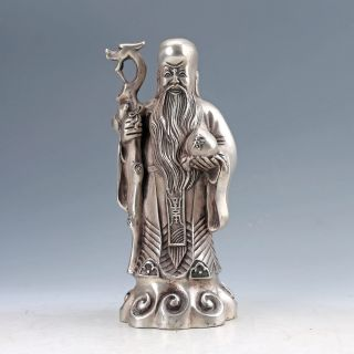 Chinese Collectable Silver Copper Hand Carved Longevity God Statues D1230 photo