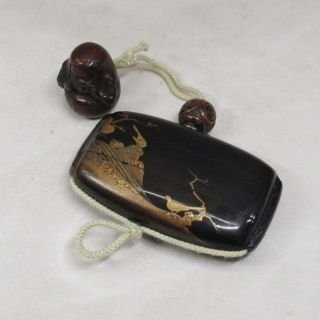 B216: Real Japanese Old Lacquer Ware Pillbox Inro With Good Makie,  Funny Netsuke photo
