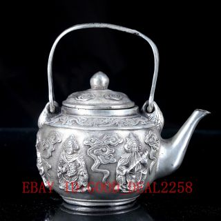 Chinese Silve Copper Hand Carved Four Major Kings Teapot W Ming Xuande Mark photo