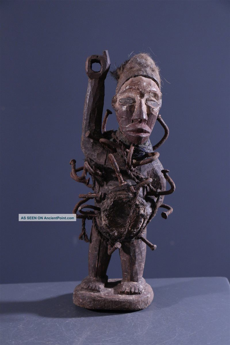Congo: Old And Tribal African Bakongo Figure Or Statue - 29 Cm. Sculptures & Statues photo