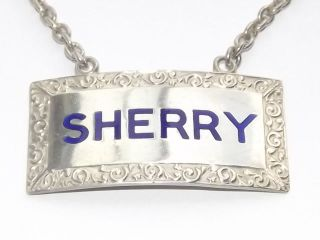 Vintage Hm Solid Silver Sterling & Enamel Sherry Wine Decanter Label B/ham1961 photo