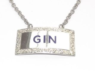Vintage Hm Solid Silver Sterling & Enamel Gin Wine Decanter Label B/ham 1961 photo