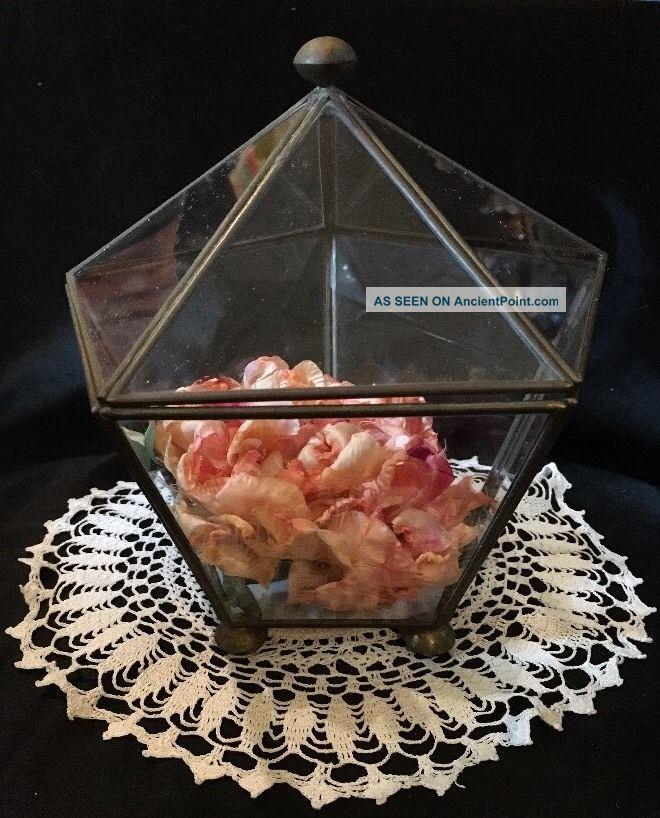 Vtg Brass & Glass Display Curio Case Med Sz Box For Miniatures,  Unique Pentagon Display Cases photo