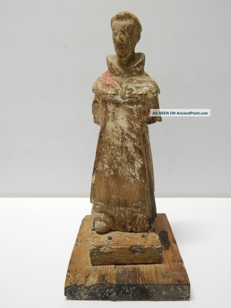 Old Mexico Antique Mexican Saint Santos Statue Wood Crvd Figure - Exceptional Latin American photo