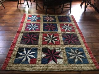 Early Antique Calico Quilt Entire Back Homespun Star Pattern Red Blue Green Aafa photo