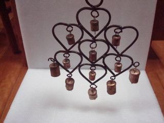 Wrought Iron Heart Cow Bells Wind Chime Primitive/french Country Garden Decor photo