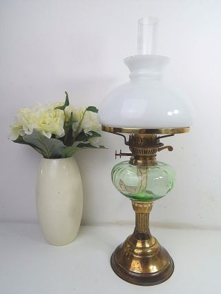 Vintage Tall Green Glass Reservoir Oil / Paraffin Lamp photo