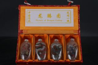 Old Chinese A Bottle With Painted Designs Dragon Glazed Snuff Bottle 4pc H309 photo