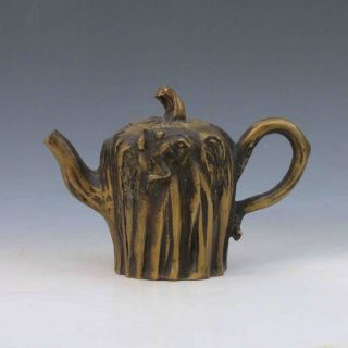 Chinese Brass Handwork Carved Tree Root Shape Teapot W Qian Long Mark M0001 photo