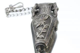 Antique Chinese Silver Figural Bat Handle Needle Case photo