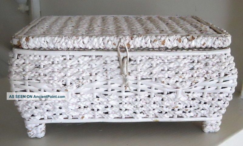 Antique Victorian Vintage White Wicker Sewing Box Basket Baskets & Boxes photo