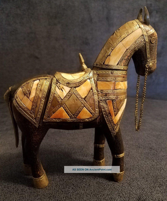 Vintage Carved Wood Horse Inlay Brass Horn Bone Figurine Sculpture Statue