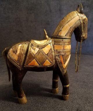 Vintage Carved Wood Horse Inlay Brass Horn Bone Figurine Sculpture Statue photo