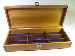 Vintage Solid Long Grain Pine Storage Case With Locking Clasp And Dividers. photo