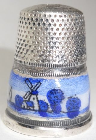 Vintage Sterling Silver Thimble Enameled Landscape Germany photo