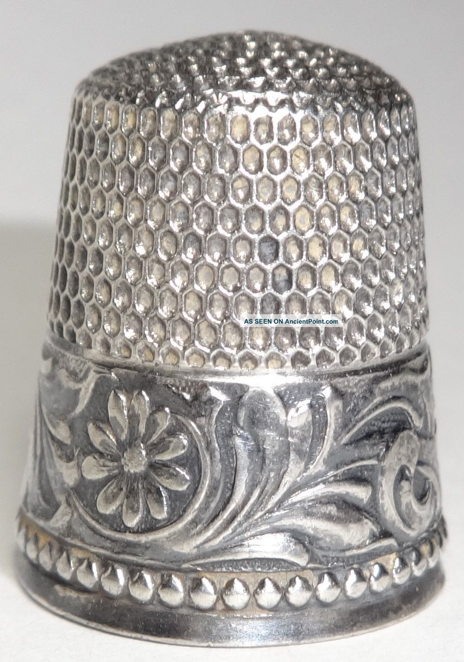 Vintage Sterling Silver Thimble Scrolling Floral Design Beaded Border Simons Bro Thimbles photo