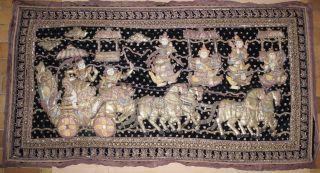 Myanmar Old Patchwork Embroderie Artwork Textile Wall Carpet Beads Burma Kalaga photo