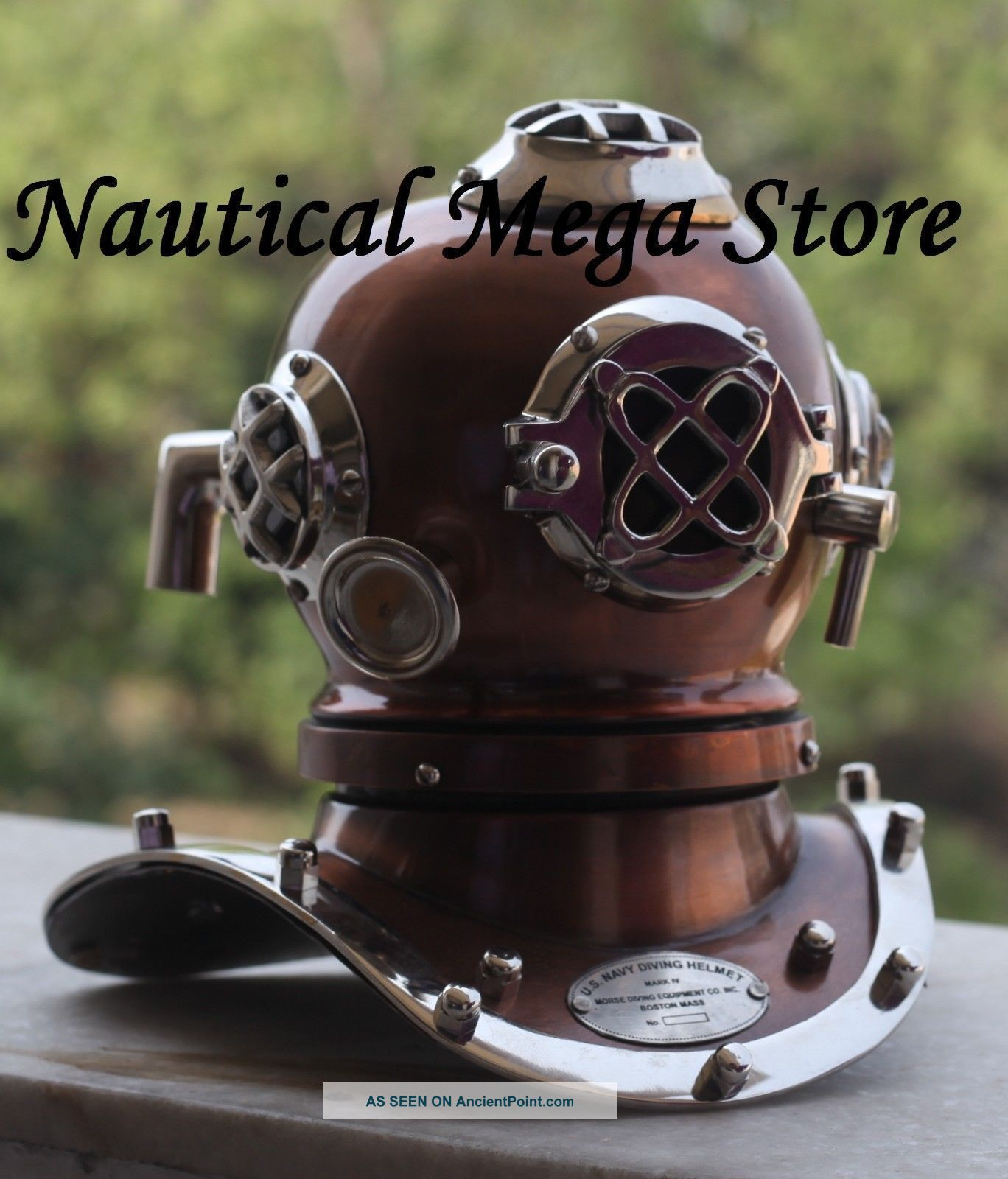 Old Vintage Style Diving Helmet Divers Antique Us Navy Mark Vi Replica Brass Diving Helmets photo