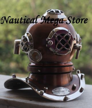 Old Vintage Style Diving Helmet Divers Antique Us Navy Mark Vi Replica Brass photo