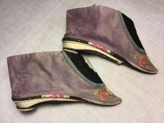 Antique 19th/ 20th C Qi ' Ing Chinese Embroidered Woman ' S Bound Foot Shoes photo