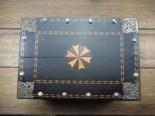 Exquisite 18th.  C Sri Lanka Dutch Colonial Ebony Betel Box With Silver Mounts photo