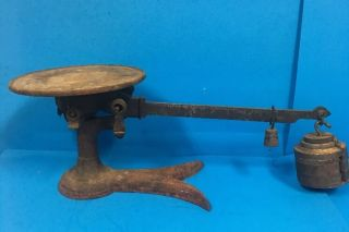 Antique Fairbanks Beam Balance Cast Iron & Brass Scale Crows Foot Base Ccd27 photo