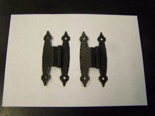 Nos Vintage Hammered Black Colonial H Style Hinges For 3/8