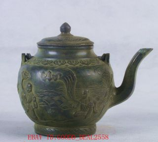 Chinesebronzehandwor Eight Immortals Teapot Wqianlongmark Qt055 photo