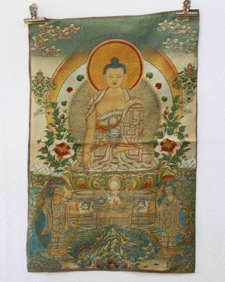 Tibet Collectable Silk Hand Painted Guanyin Painting Thangka photo